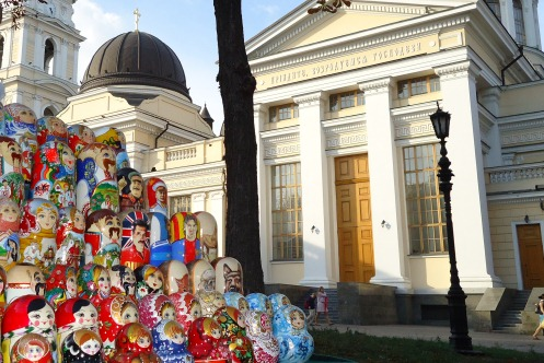 russion dolls and cathedral in odessa