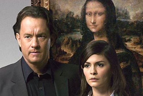 da vinci code. tom hanks and tautou with the mona lisa